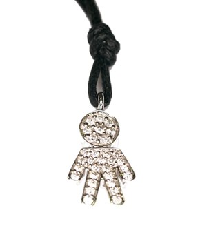 Pendant white gold and pave diamond shaped child