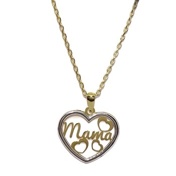PENDANT MADE OF YELLOW GOLD AND IN 18K WHITE GOLD WITH CHAIN, FORCED-45CM SPECIAL MAM�! NEVER SAY NEVER