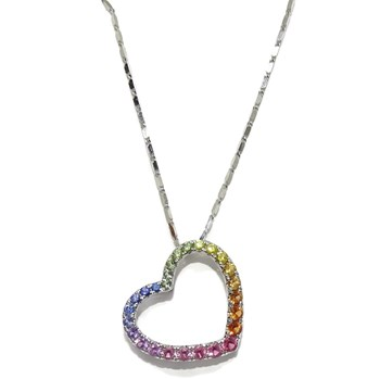 PENDANT FOR WOMAN IN 18K WHITE GOLD AND 0.92 CTS OF PRECIOUS STONES IN THE SHAPE OF A HEART�N NEVER SAY NEVER