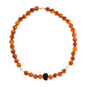 Collar ágata roja y perlas cultivadas