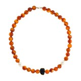 Agate collier rouge et perles de culture