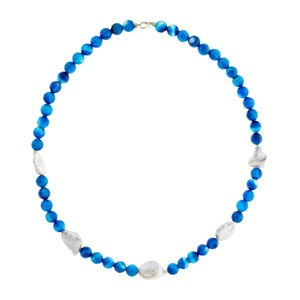 KEISHI PEARLS NECKLACE BLUE AGATE