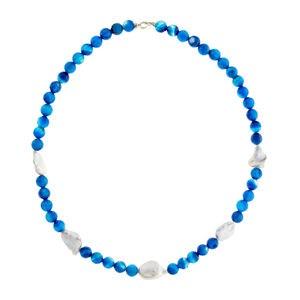 Collar ágatas azules perlas keishi