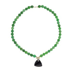 NECKLACE AGATE GREEN AND ONYX SILVER
