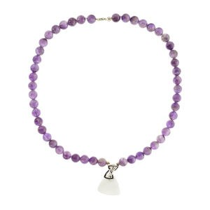 NECKLACE AMETHYST AND SILVER LAW HOWLITE