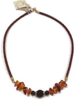 AMBER AND LAVA NECKLACE