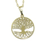 NECKLACE TREE OF LIFE YELLOW GOLD 18KTES NEVER SAY NEVER