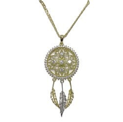 Collar Atrapa-sueños de 2.00cm de diámetro con circonitas y cadena doble barbada de 45cm oro 18k Never say never