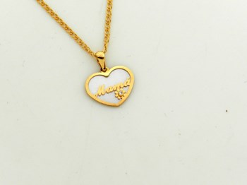 CHAIN NECKLACE WITH PENDANT MADE OF GOLD, AND NASCAR HEART BREAST - SELF -