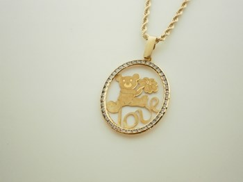 NECKLACE PENDANT BEAR GOLD ZIRCONS - OWN - 815/CI