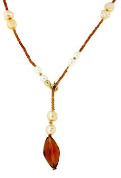 Collar con perlas y piedras naturales con cierre de mosquetón