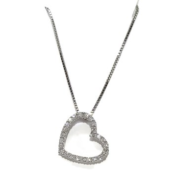 NECKLACE HEART CHARM�N FOR WOMAN IN 18K WHITE GOLD AND 0.47 CTS OF DIAMONDS NEVER SAY NEVER