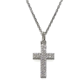 NECKLACE CROSS WHITE GOLD 18KTES WITH ZIRCONS AND CHAIN FORCED WHITE GOLD 18KTES AND 45CM. NEVER SAY NEVER