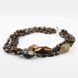 NECKLACE SMOKY QUARTZ AND AGATE BROWN BUC255 PATRICIA GARCIA