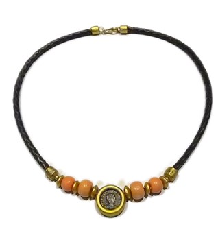 Gold, Japanese coral and leather necklace