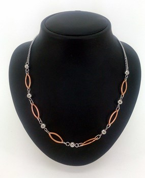 DILOY IN WHITE AND GOLD ROSE JND46-60 STEEL NECKLACE