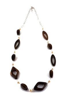 Ebony and cultured pearl necklace