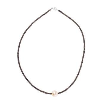 Collar de hematites bronce y perla cultivada rosa