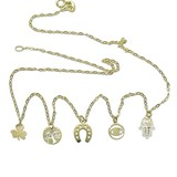 NECKLACE OF THE LUCKY 18K GOLD 5 S�SYMBOLS 40CM LONG. 1.45 GRAMS OF GOLD, NEVER SAY NEVER