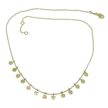 FASHION NECKLACE OF 18K YELLOW GOLD WITH CHAIN OF BALLS, STONED AND 13 C�CIRCLES OF GOLD (4 MM) NEVER SAY NEVER