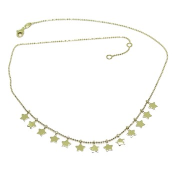FASHION NECKLACE OF 18K YELLOW GOLD WITH CHAIN OF BALLS, STONED AND 13 GOLD STARS NEVER SAY NEVER