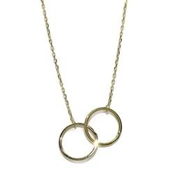 Collar de Oro Amarillo de 18k con 2 círculos de 1.20cm de diámetro y Tubo Cuadrado  Never say never