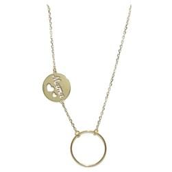 Collar de Oro Amarillo de 18k con Cadena Forzada Ligera con Karma Y Mamá Never say never