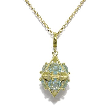 NECKLACE OF 18K YELLOW GOLD WITH BLUE TOPAZES AND CHAIN ROLO 45CM 18K GOLD NEVER SAY NEVER