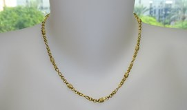 Collar de oro amarillo de 18Ktes 45cm mate y brillo infinitos. Never say never
