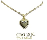 COLLAR YELLOW GOLD 18KTES WITH A HEART THREE-DIMENSIONAL YELLOW GOLD 18KTES. 40CM NEVER SAY NEVER