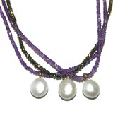 COLLAR YELLOW GOLD 18KTS WITH AMETHYST AND FINE PEARL CULIVADA 14MM. 45CM NEVER SAY NEVER