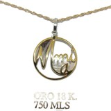 NECKLACE YELLOW GOLD AND WHITE 18KTES THOUGHT FOR MOM. 40CM LONG, NEVER SAY NEVER