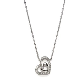 NECKLACE IN 18K WHITE GOLD FOR WOMEN WITH DOUBLE HEART OF GOLD AND 0.12 CTS OF DIAMONDS, 42CM LONG, NEVER SAY NEVER