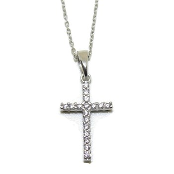 COLLAR WHITE GOLD 18KTES WITH CROSS REVERSIBLE GOLD WHITE 18KTES AND ZIRCONS NEVER SAY NEVER