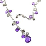 COLLAR WHITE GOLD SMOOTH AND MATTE 18K AND AMETHYST. HIDDEN CLASP FOR SECURITY.40CM AND HANGS 8.00 CM NEVER SAY NEVER