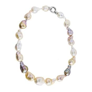 Collar de perlas cultivadas barrocas multicolor