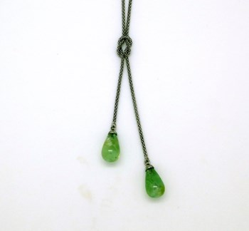 SILVER NECKLACE 2 GREEN STONES