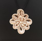 NECKLACE OF SILVER AND PINK ZIRCONS WITH CORD C-8725 Alen Dione