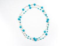 Collar de turquesas y perlas cultivadas
