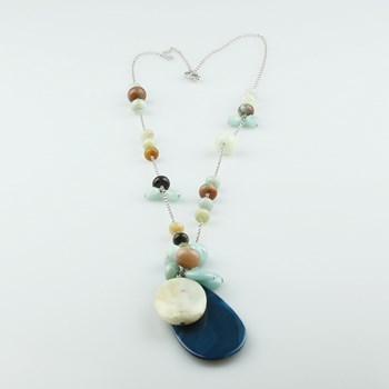 COLLAR CHAINED AMAZONITE AND BLUE AGATE BUC244 PATRICIA GARCIA