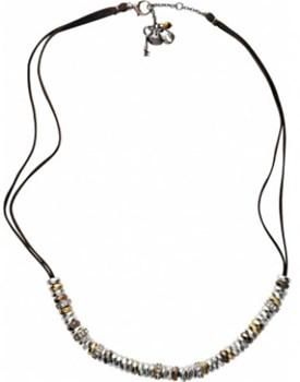 Dentelle de Lady tricolore collier fossile brun JA03675