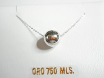 NECKLACE CHOKER WHITE GOLD, WITH BALL - OWN - 3831/45B