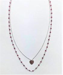 Collar gargantilla doble  corazon y piedras rosas - Artesanal - pvol75352