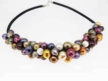 MULTICOLOR LEATHER 71552 PEARLS NECKLACE CHOKER