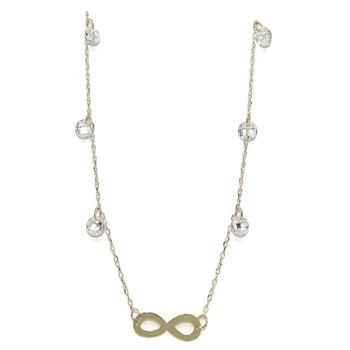 NECKLACE YELLOW GOLD 18 KTES WITH INFINITE AND ZIRCONS. 45CM NEVER SAY NEVER