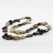 LONG NECKLACE AGATE AND NATURAL ONYX BUC256 PATRICIA GARCIA
