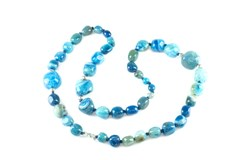 LONG NECKLACE KNOTTED BLUE AGATE C224 PATRICIA GARCIA