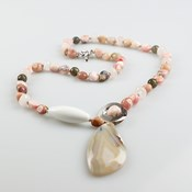 LONG NECKLACE AGATE AND PINK OPAL C268 PATRICIA GARCIA