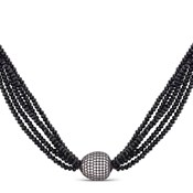 LONG COLLIER LUXENTER ARGENT ET ONYX NXA06690100