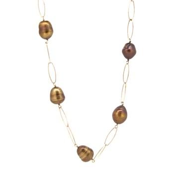 Long collier argent plaqué or et pierres  15SR-5 Stradda